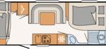 De indeling van de Dethleffs C'Go 565 FMK