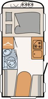 overdwars bed caravan
